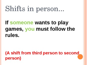 Shifts in Grammar: Tense, Voice, Verb Mood, Person