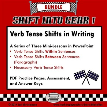 Shifts in Verb Tense BUNDLE:  PowerPoint Minilessons, Practice Pages