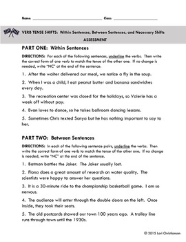 Shifts in Verb Tense:  Practice Pages and Assessment
