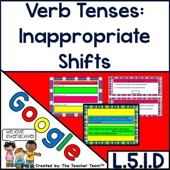 Shifts in Verb Tenses Interactive Notebook Google Drive Activities 5.L.1.D