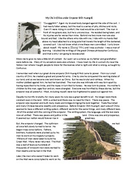 Shih Huang-ti First Emperor of China Reading and Argumentative Essay
