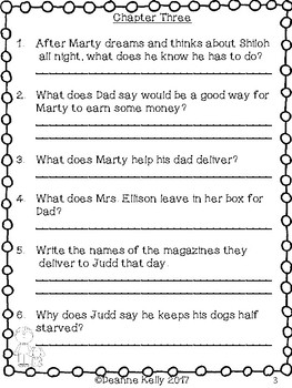 Shiloh Comprehension/Discussion Questions and More