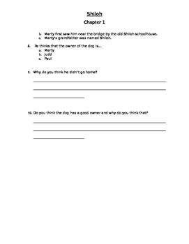 Shiloh Chapter 1 Comprehension Questions