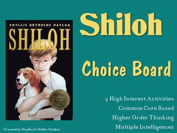 Shiloh Choice Board Menu Novel Activities Book Project Tic