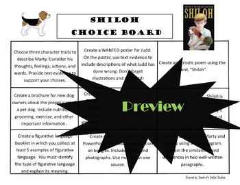 Shiloh Choice Board Novel Study Activities Menu Book Project Tic Tac Toe