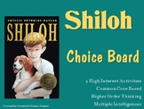 Shiloh Choice Board Novel Study Activities Menu Book Proje