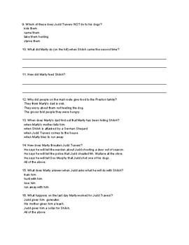 Shiloh Comprehension Quiz