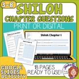 Shiloh Comprehension Worksheets - Google Slides or Print