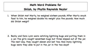 Shiloh Novel : Math Word Problems to Accompany a Book Study