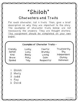 Shiloh Novel Unit Study Activities, Book Companion Worksheets, Project