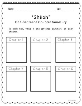 Shiloh Novel Unit Study Activities, Book Companion Worksheets, Project