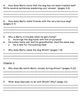 Shiloh--Reading Comprehension and Book Quiz