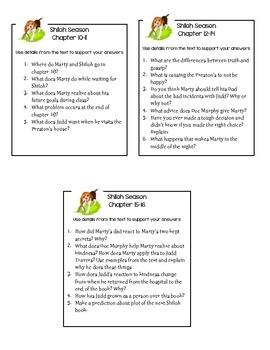 Shiloh Season Reading Comprehension Questions