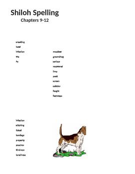 Shiloh Spelling LIst 9-12