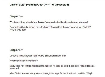 Shiloh Unit guided discussion questions & writing prompts