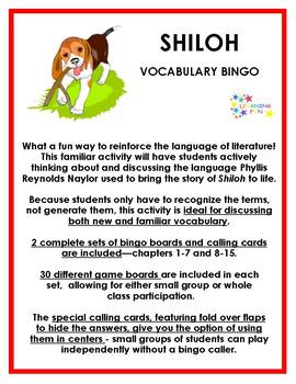 Shiloh Vocabulary Bingo