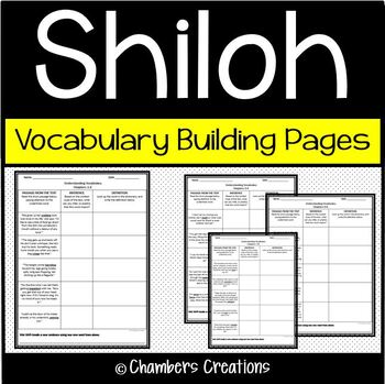 Shiloh- Vocabulary Building Pages