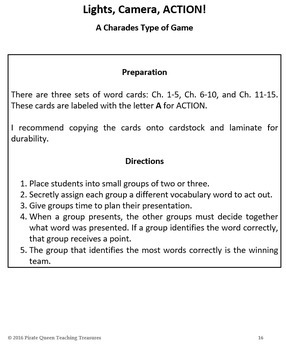 Shiloh Vocabulary Literacy Center Activities