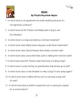 Shiloh by Phyllis Reynolds Naylor, Battle of the Books Questions
