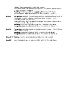 Shiloh by Phyllis Reynolds Naylor Novel Study Unit Plan