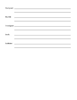 Shiloh by Phyllis Reynolds Naylor Student Vocabulary Sheets