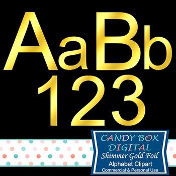 Shimmer Block Gold Foil Alphabet Clipart