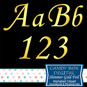 Shimmer Cursive Gold Foil Alphabet Clipart