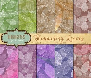 Shimmering Leaves, Leaf and Kraft Scrapbook Digital Paper Backgrounds