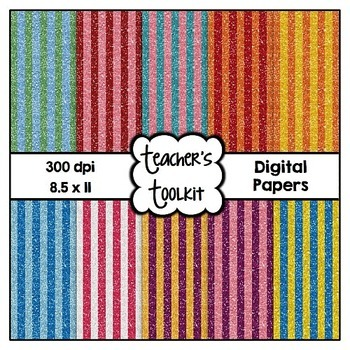 Glitter Stripes Digital Background Papers {8.5 x 11} Clip