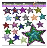 Shining Sequin Stars Clip Art