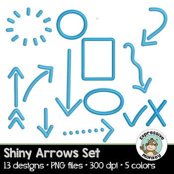 Shiny Arrows Set: Clip Art