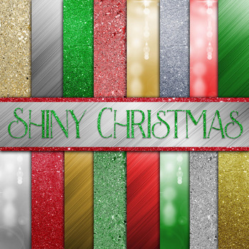 Shiny Christmas Digital Paper Pack - 16 Different Papers - 12inx12in