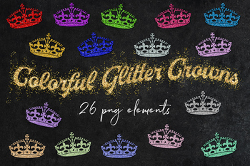 Shiny Crowns Clipart, Sparkly Glittery Crowns, Glitter Crown