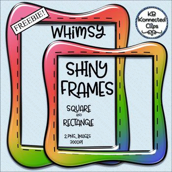 Shiny Frames Freebie! Multicolor Whimsy Frames - Square and Rectangle