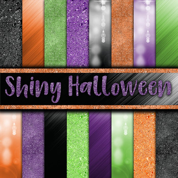 Shiny Halloween Digital Paper Pack - 16 Different Papers - 12inx12in