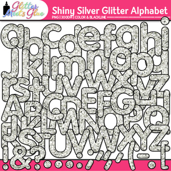 Shiny Silver Alphabet Clip Art {Glitter Meets Glue}