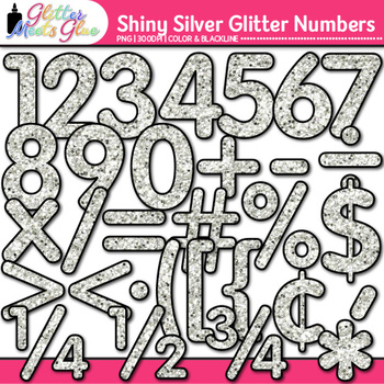 Shiny Silver Glitter Math Numbers Clip Art {Great for Classroom Decor}