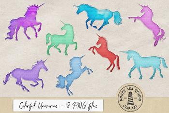 Shiny Unicorn Clipart, Shimmering Metal Unicorns, 8 PNG Images