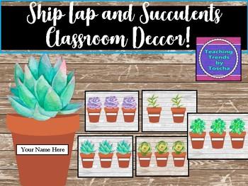 Ship Lap and Succulents Classroom Decor