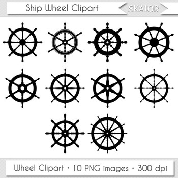 Ship Wheel Clipart Helm Boat Nautical Digital Vector Scrap