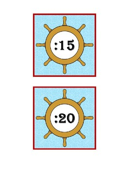 Telling Time Clock Card Signs Ocean Theme