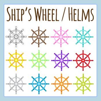 Ship's Wheel / Helm Different Colors Clip Art Set for Comm