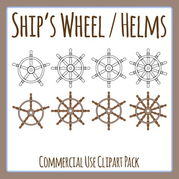 Ship's Wheel / Helm Different Numbers of Spokes Clip Art Set for Commercial Use