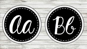 Shiplap Black & White Cursive Word Wall Letters