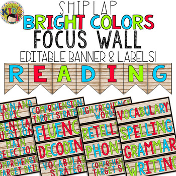 Shiplap & Bright Colors Focus Wall EDITABLE Banner and Labels