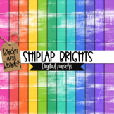 Shiplap Brights Digital Papers Background Clipart
