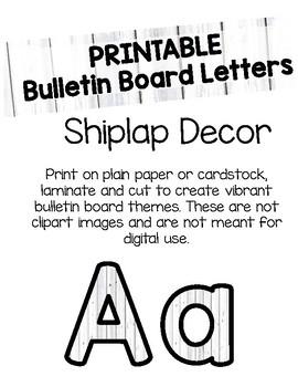 Shiplap Bulletin Board Letters Printable By Flynn S Finns Tpt