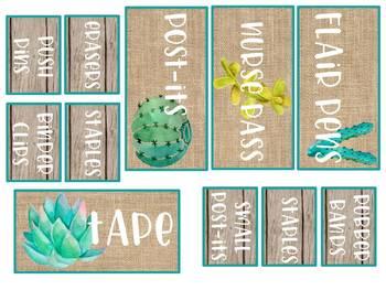 EDITABLE Shiplap, Burlap, Cactus, and Succulent Teacher Toolbox