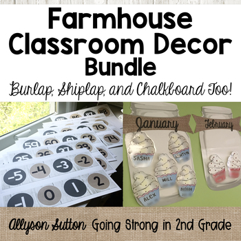 Farmhouse Classroom Decor Bundle - Burlap, Shiplap & Chalkboard Too!