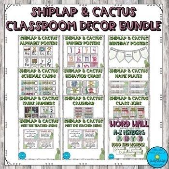 Shiplap & Cactus Classroom Decor Bundle